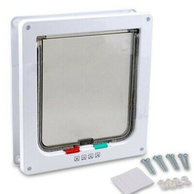 Kitten 4-Way (White) Safe 4-Way Cat Dog Flap Door Dog Entry Size Flap Lockable