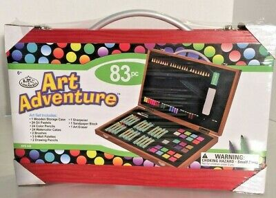 83pc Deluxe Art Creativity Set Supplies Brushes Pencils in Wooden Case