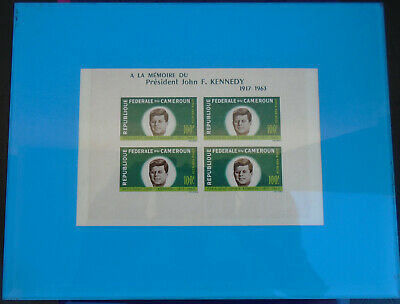 Block of FOUR Rare Vintage Stamps from Cameroun Commemorating John F Kennedy