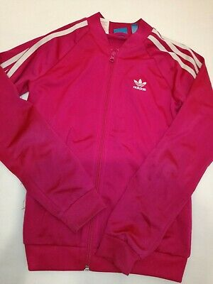 Girls Pink Cerise Adidas tracksuit jacket top sports wear Age 11-12 years