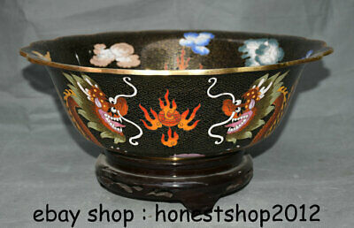 """15,2 """"alte China Kupfer Cloisonne Dynasty Palace 2 Dragon Loong Flower Becken Ba"""