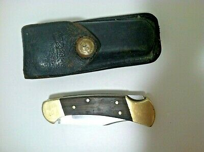 Vintage BUCK 112 Folding Knife with Original Leather Sheath #112