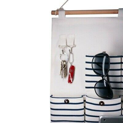 Hanging Organizer With Pockets Fabric Wall Door Storage, Blue Stripe (12 Pocket)