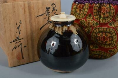 K3328: Japanese Kiyomizu-ware TEA CADDY Oketani Teiichi made High class lid
