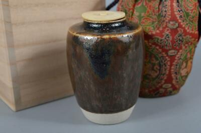 K3329: Japanese Seto-ware Brown glaze TEA CADDY with High class lid Shifuku