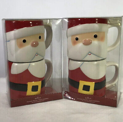 Hallmark Christmas SANTA CLAUS STACKABLE Mugs Holiday Coffee Cup TWO SETS OF 2!