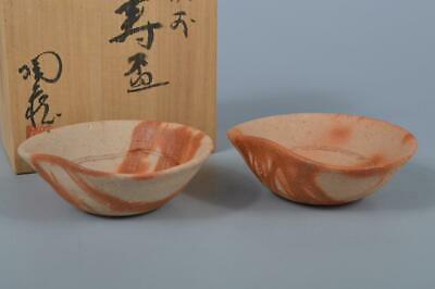 K4477: Japanese Bizen-ware SAKE CUP Sakazuki 2pcs Tozo Konishi made w/signed box