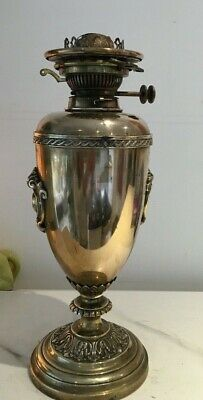 Large Antique Brass Hinks Oil Lamp