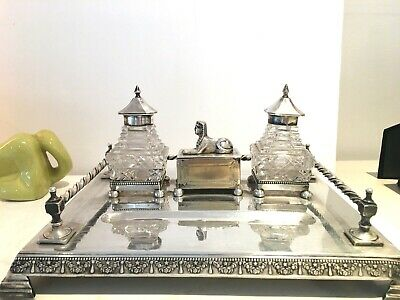 antique egyptian revival silver plate desk inkwell sphinx hobnail glass