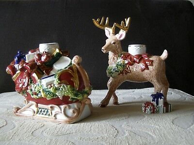 Waterford Holiday Heirlooms Santa Sleigh Ride Candle Holders - MINT