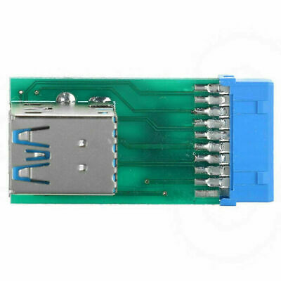 Xiwai Dual USB3.0 A Type Female to Motherboard 20 Pin Box Header Slot Adapter