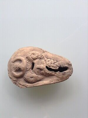 Rare Ancient Roman Oil Lamp Decorated With A Horned Bearded Satyr