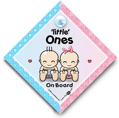 Little Ones On Board Car Sign, Baby On Board Sign, Suction Cup Sign
