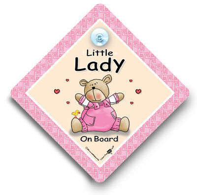 Little Lady On Board, Baby On Board Sign, Suction Cup Car Sign
