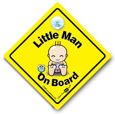 Little Man On Board Car Sign, Baby On Board Sign, Suction Cup Car Window Sign