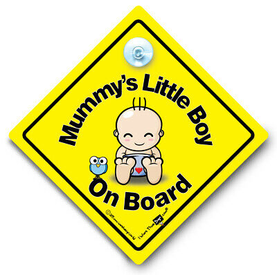Mummy's Little Boy On Board Baby on Board Suction Cup Car Sign Style