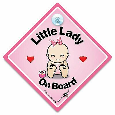 Little Lady On Board Car Sign, Baby On Board Sign, Suction Cup Sign Super Cutie