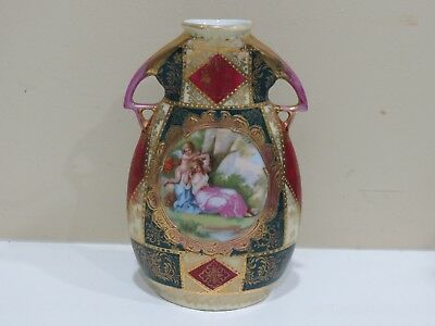 Antique Royal Vienna Hand Painted Porcelain Vase, Signed Artist Haufmann