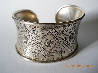 Vintage Toast Wide Etched Silver Bangle