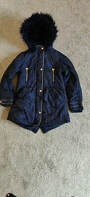 Stunning Girls TED BAKER Navy Winter Coat Rose Gold Detail Age 12