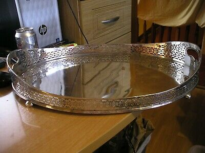 Silver Plate on copper i think  Drinks Serving Tray raised gallery sides ball fe