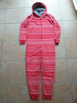 M & S All In One Fleecy Warm Hooded Jumpsuit Red & White Xmas Age 13-14 Yrs VGC