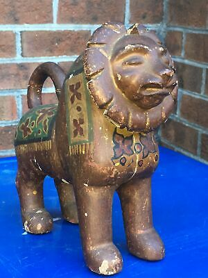 Vintage Folk Art Hand Carved Painted Wooden Wood Lion Statue Sculpture Figurine