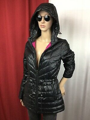 DKNY COAT SIZE Large Womens Winter Parka Black Hooded Cinch