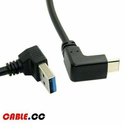 Cablecc USB 3.1 USB-C Reversible Angled to 90 Degree Up Angled A Male Data Cable