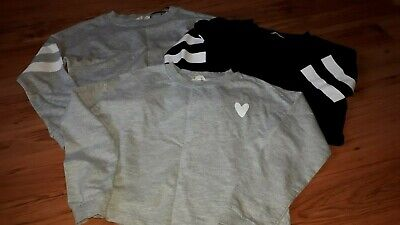 Girls set of 3 sweatshirts tops by H&M in grey and black age 8/10 years