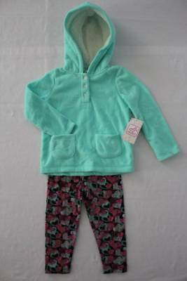 NEW Girls 2 piece Set 24 Months Hooded Pullover Jacket Leggings Outfit Hearts
