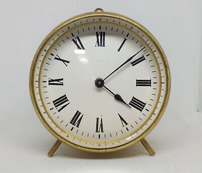Superb French brass 8-day drum clock c1900 in excellent condition with both keys