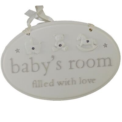 Bambino Baby's Room Plaque with Embossed Icons and Diamantes