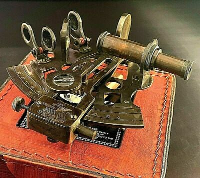 Vintage Maritime Brass Nautical Sextant Leather Case Kelvin Hughes London 1917