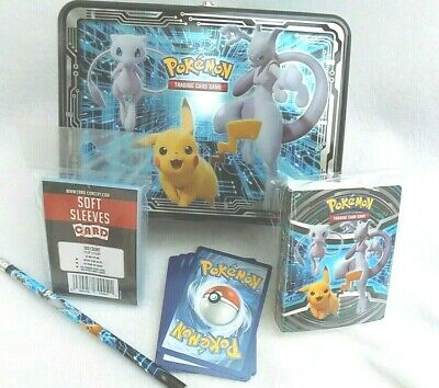 Pikachu Mew Mewtwo Collectors Chest Tin With  10 CARDS 1 MINI FOLDER ,SLEEVES