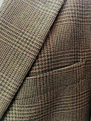 Evan Picone Mens Sport Coat 42R Brown Houndstooth Plaid 95% Wool 5%Cashmere
