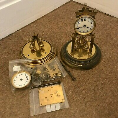 2x 400 DAY ANNIVERSARY TORSION MANTLE CLOCK Spares or Repairs