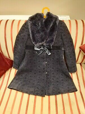 A Beautiful Navy Girls Coat from Monsoon with fur collar Age 9-10