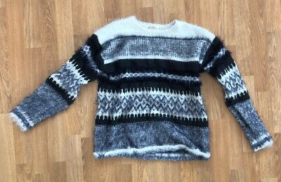 Zara Girls Winter Collection Gray And White Fuzzy Sweater Size 13-14