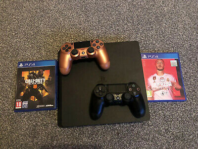 Sony PlayStation 4 Slim 500GB Console - Matte Black- 2 Controllers+FIFA 20+BO4