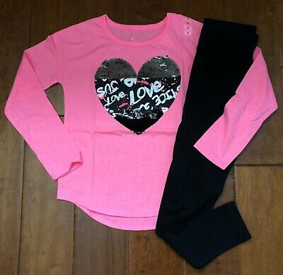 Nwt Justice Girls Size 10 Outfit Set~ Pink Flip Sequin Heart Tee / Leggings