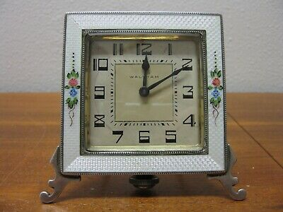 Antique Sterling Silver and Guilloche 8day Clock-working