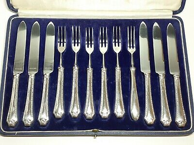 Art Deco 1930 Sterling Silver Mappin And Webb Fruit/Tea Knife And Fork Set