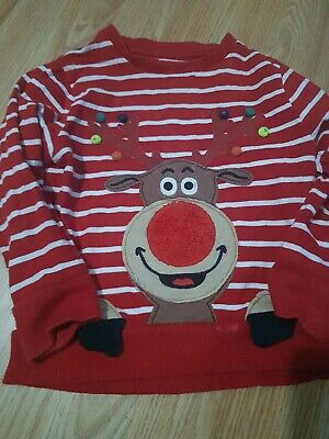 Next Christmas Reindeer Sweatshirt Jumper 2-3 Years boys or girls