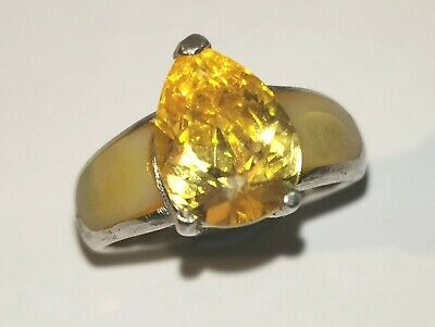 Lovely Sterling Silver Ring With Yellow Pear Cut Stone - Metal Detecting Find