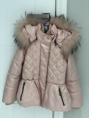 Monnalisa Pink Girls Coat Age 5 With Real Pink Fur Hooded Gorgeous Luxury Coat