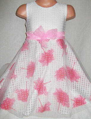 GIRLS 50s WHITE LACE BOW TRIM PINK FLORAL SPECIAL OCCASION PARTY DRESS age 3-4
