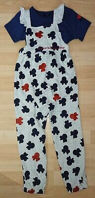 Girls Minnie Mouse T Shirt & Dungarees Set Size 4-5 Years Mothercare