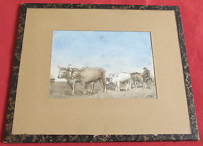 "Beautiful Watercolour Early of 20 Th Century Signed Jean "" the Plowman """