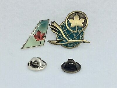 AIR CANADA Tail-Fin Lapel Pin AND Goose/Globe/Maple Leaf lapel pin (as one lot)